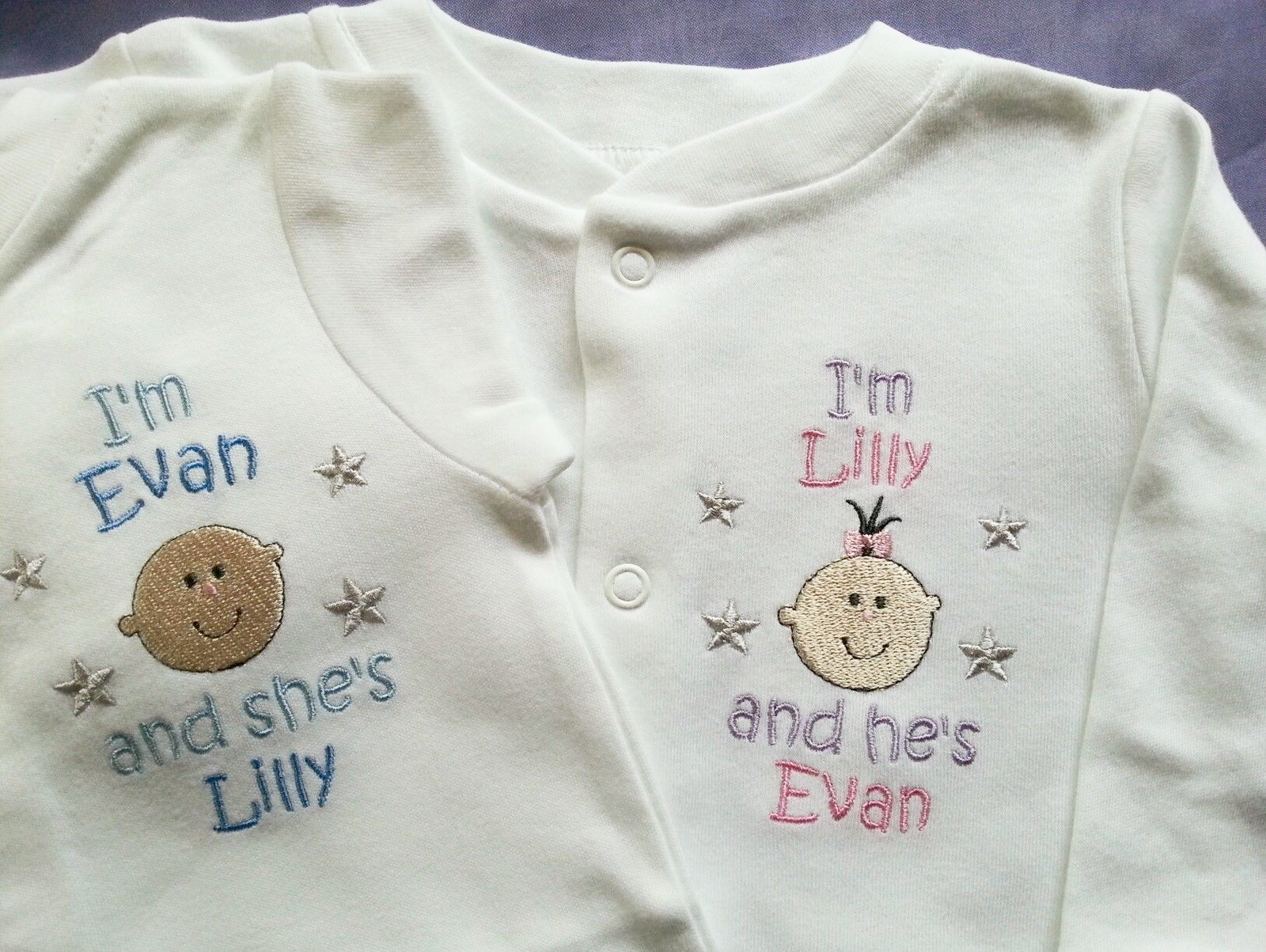 0-3 Months 2 Pack Personalised England Embroidered Baby All in One Sleepsuit