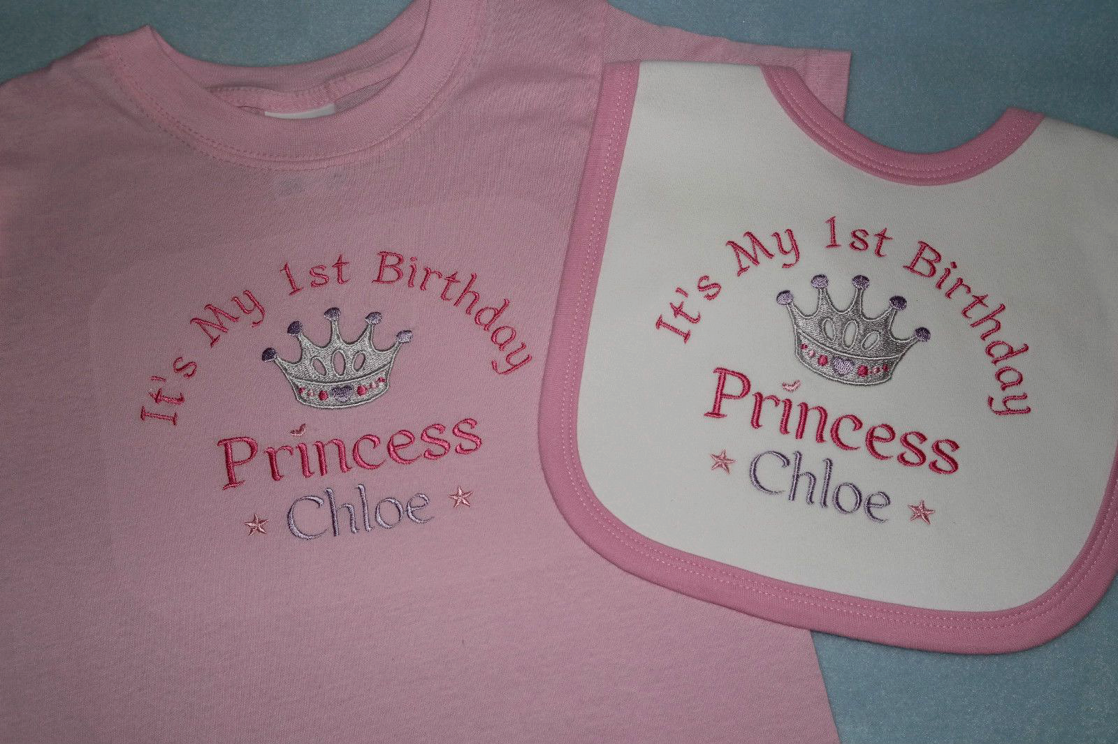 Personalised 1st First Birthday T Shirt And Bib Prince Princess Twince Twincess 2880 P