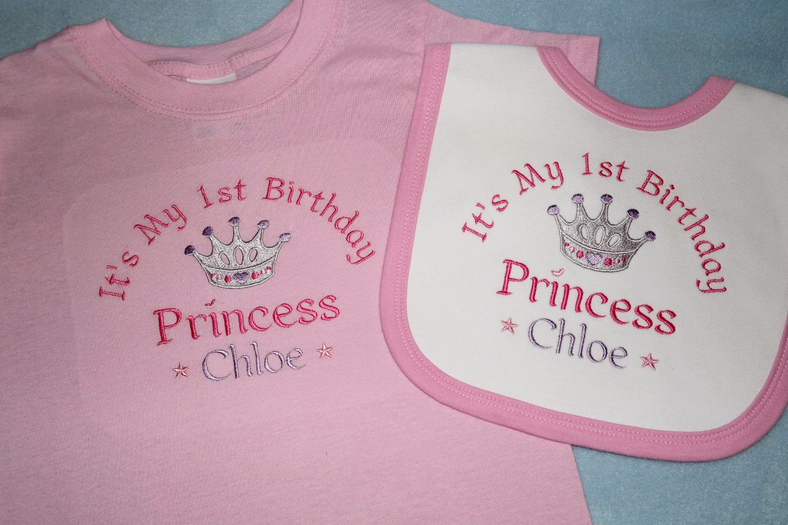 df1f01273d937 Personalised 1st First Birthday t-shirt and bib Prince Princess Twince  Twincess