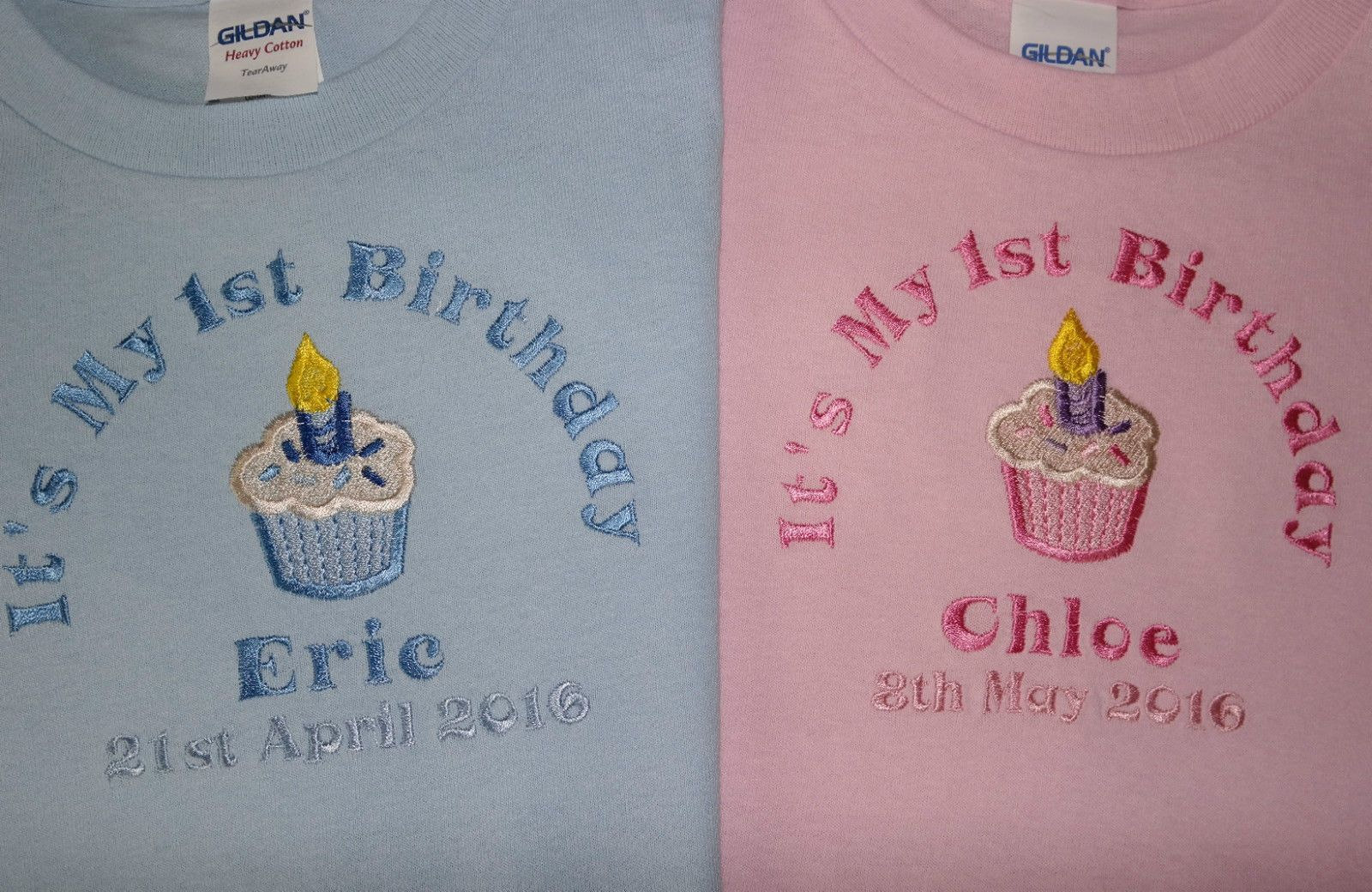 Personalised My 1st First Birthday t-shirt cupcake design can add date